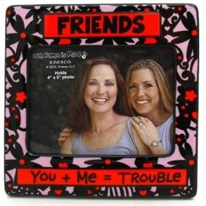 You + Me = Trouble Friends 4x6 Flower Photo Frame